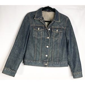 J crew distressed denim jean jacket S